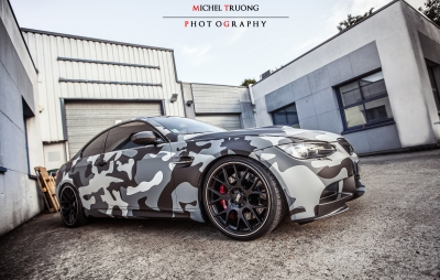 BMW M3 covering camouflage