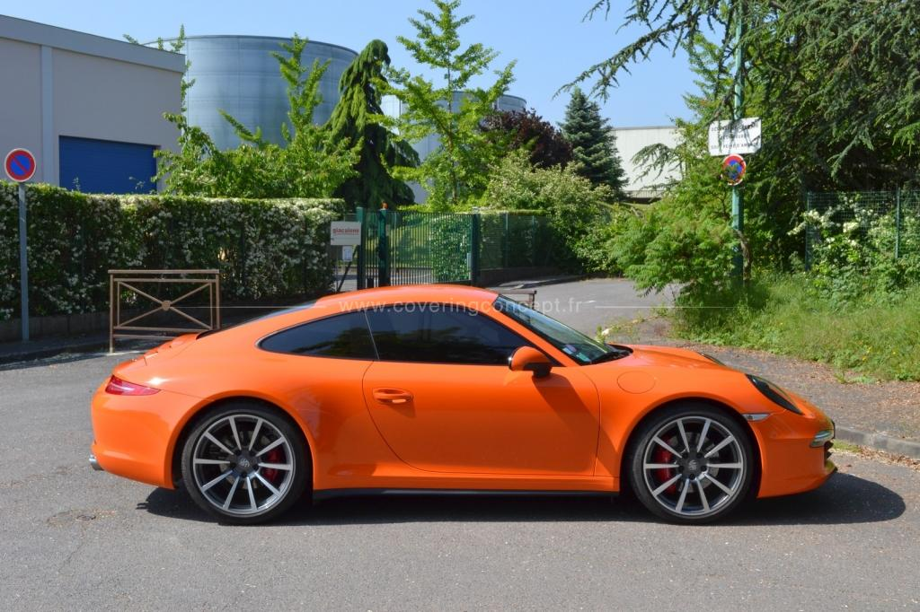 Covering Porsche 991 orange brillant